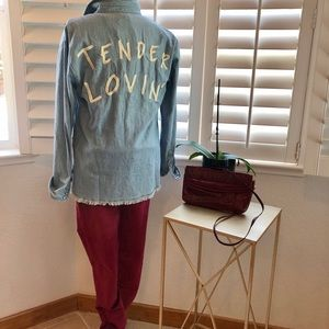 Sz small, forever 21, snap denim novelty shirt